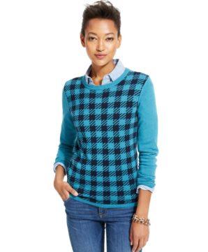 Tommy Hilfiger Checkered Crew-Neck Sweater