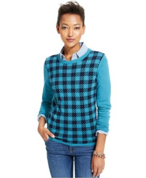 Tommy Hilfiger Checkered Crew-Neck Sweater