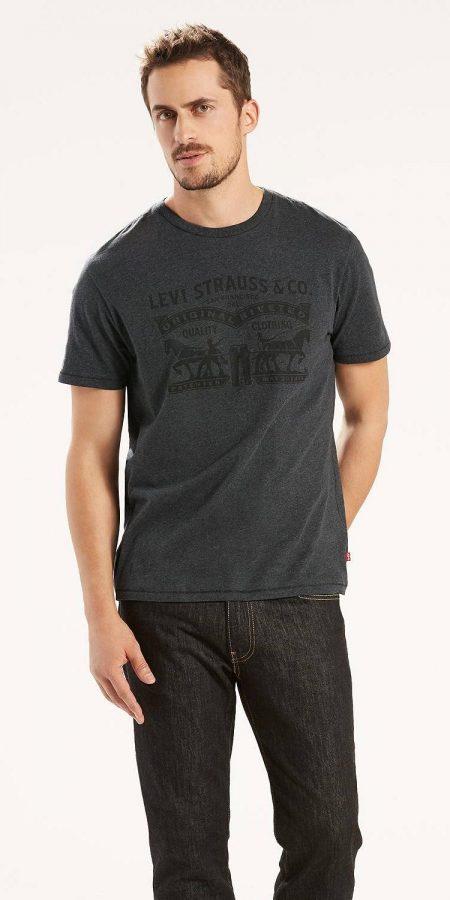Мужская футболка Levis с логотипом - темно-серая
