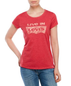 Женская футболка Levis с логотипом - коралловая
