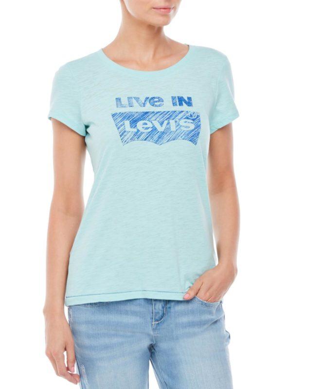 Женская футболка Levis с логотипом - бирюзовая