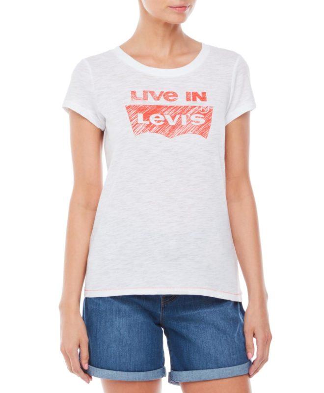 Женская футболка Levis с логотипом - белая