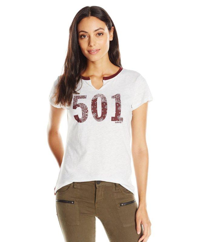 Женская футболка Levis 501 - белая