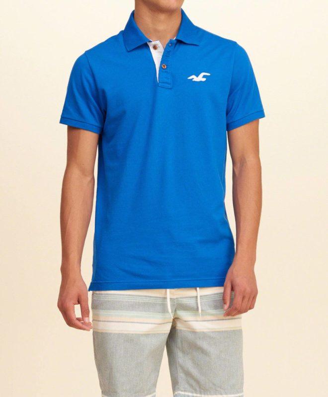 Футболка-поло Hollister для мужчин - синяя