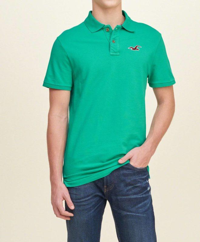 Мужская футболка-поло Hollister - зеленая