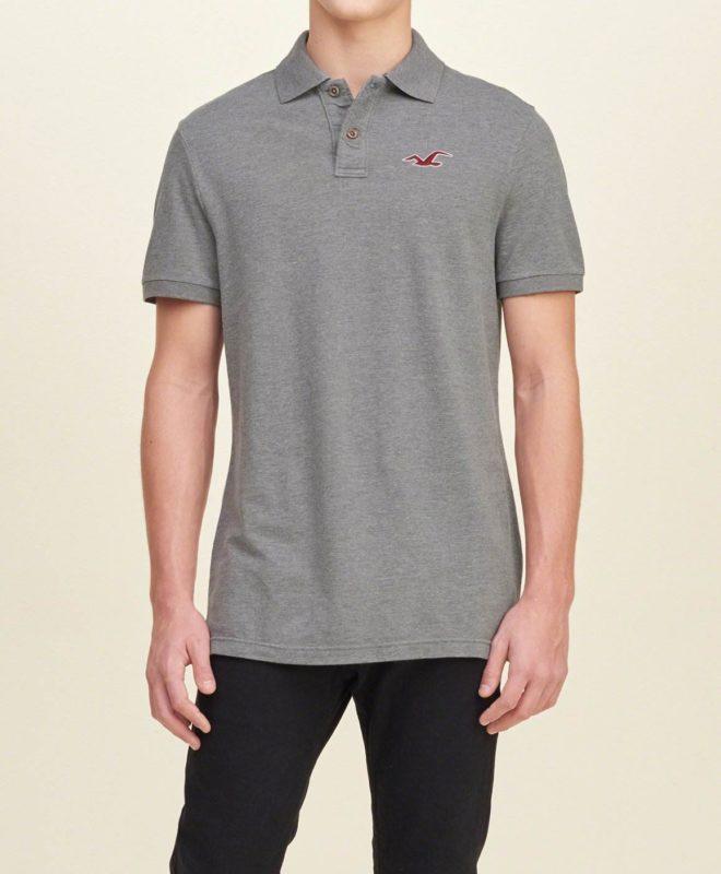 Мужская футболка-поло Hollister - серая