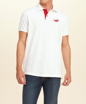 Мужская футболка-поло Hollister - белая
