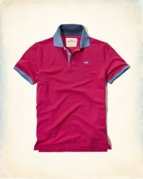Hollister Washed Pique Polo - Pink