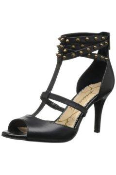 Черные кожаные босоножки с шипами на невысокой шпильке с закрытой пяткой от американской певицы и талантливого дизайнера одежды и обуви Jessica Simpson.