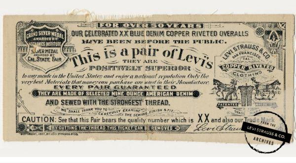 История гарантийного талона Levi Strauss