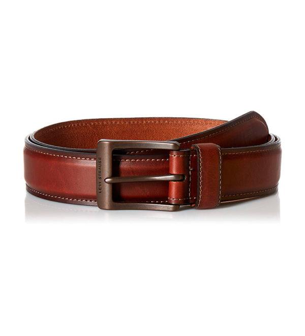 Кожаный ремень с прошивкой Levi Strauss - коричневый