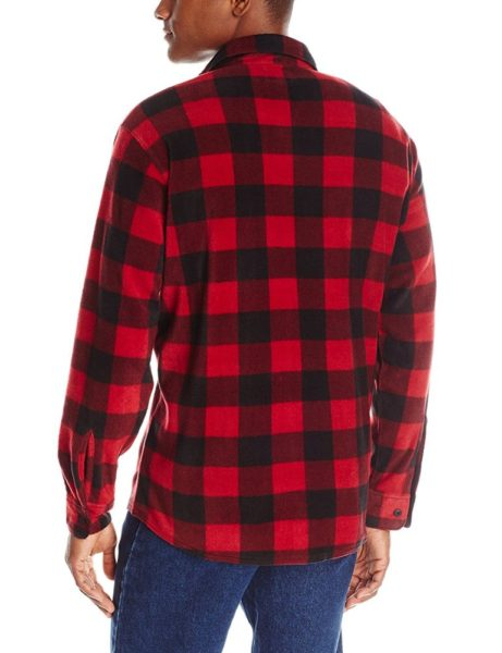 Wrangler Authentics Long Sleeve Fleece Shirt - Red Buffalo2