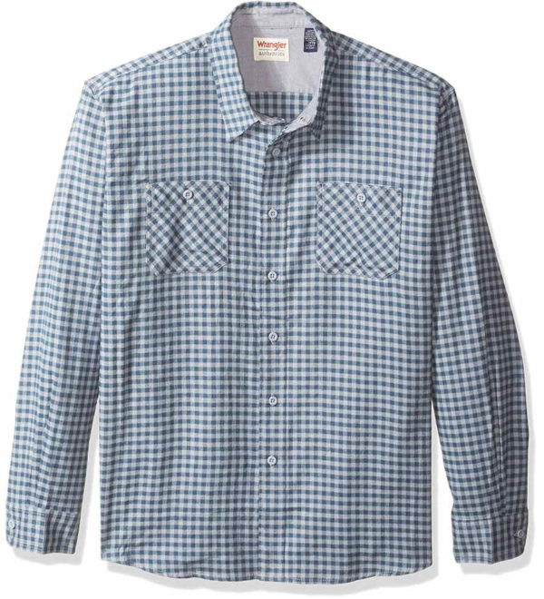 Wrangler Authentics Men's Long Sleeve Flannel Shirt - Trade Winds Gingham