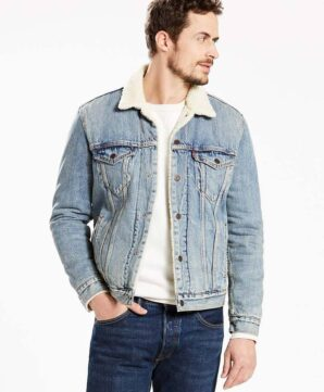 Джинсовая куртка Levis на подкладке - Mustard Blue Denim